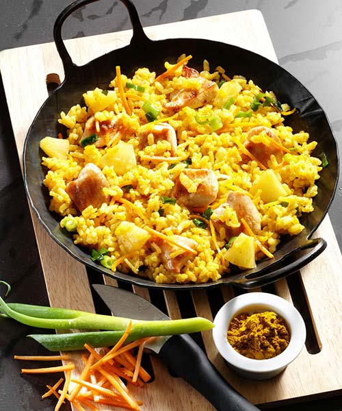 Curry-Risotto mit Huhn